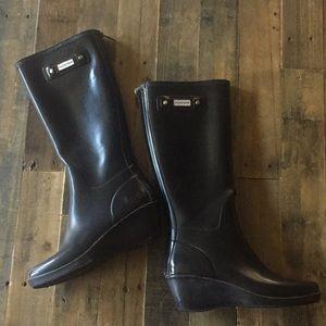 Hunter Boots Wedge Matte Black Size 8